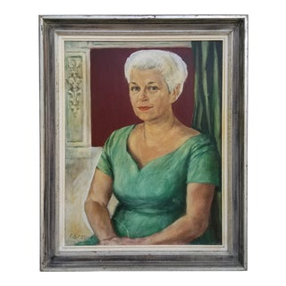 1959 Signed Oil on Canvas Female Portrait Painting