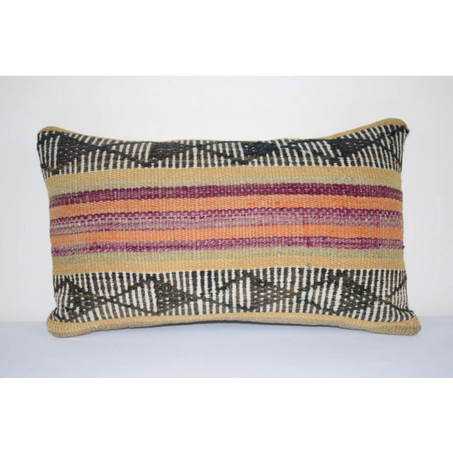 Vintage Turkish Lumbar Pillow Cover, Ethnic Tribal Kilim Pillow 12'' X 20'' (30 X 50 Cm) For Sale In Dallas - Image 6 of 6