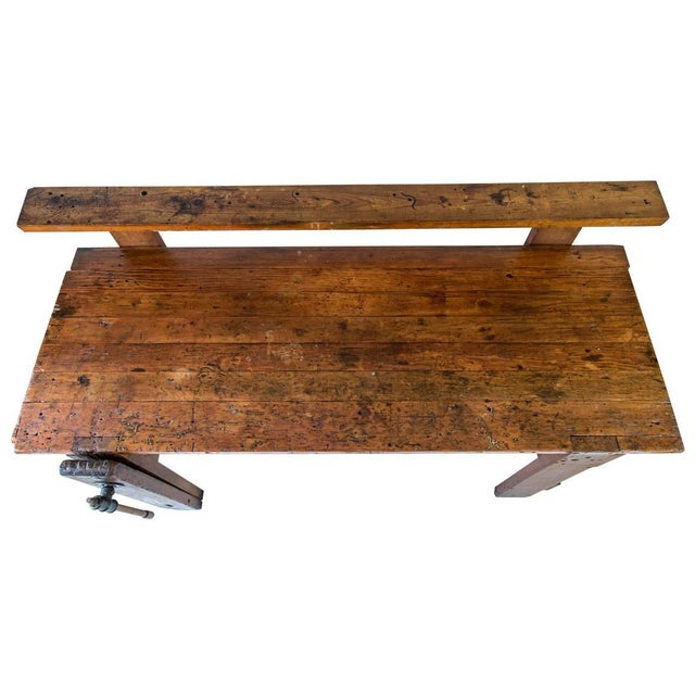 Rustic Carpenter's Workbench Sideboard For Sale - Image 4 of 13