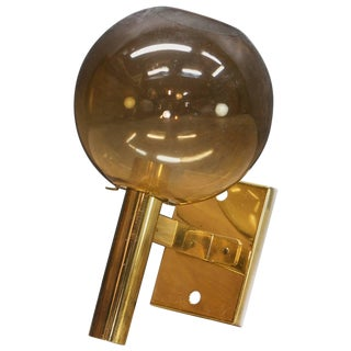 Vintage 1970s Midcentury Arredoluce Manza Brass Glass Wall Sconce Lamp Light For Sale