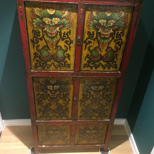 Antique Tibetan Hand-Painted Six Door Cabinet - Image 9 of 9