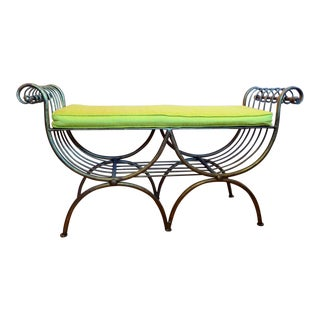 Gold Painted Metal Bench For Sale