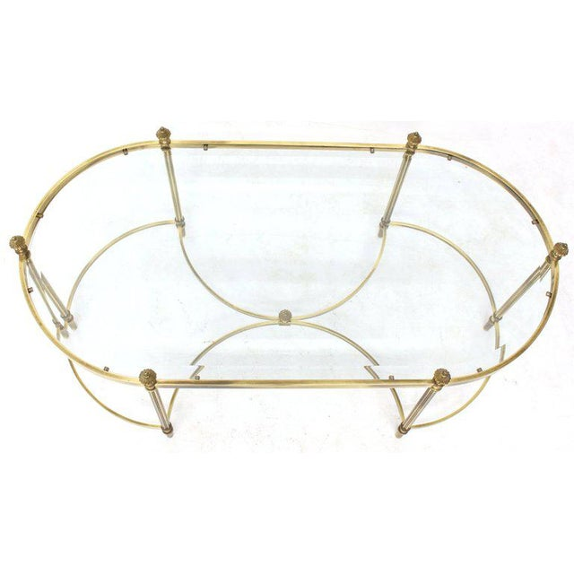 1970s Mid-Century Modern Oval Glass and Brass Coffee Table
