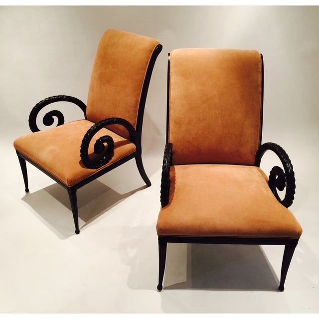 Grosfeld House Style Suede Chairs - A Pair - Image 6 of 7