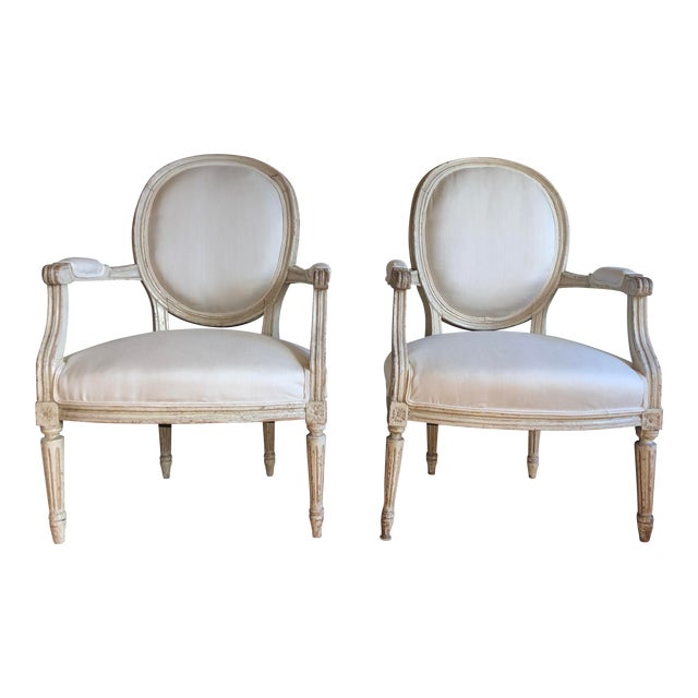 Antique French Louis XVI Fauteuil Arm Chairs - a Pair For Sale