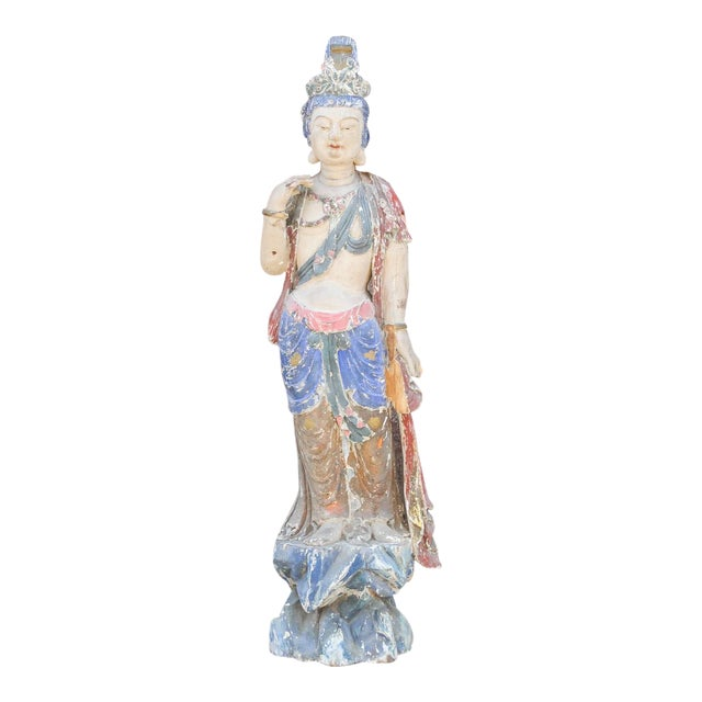 Antique Polychrome Quand-Yin Statue For Sale