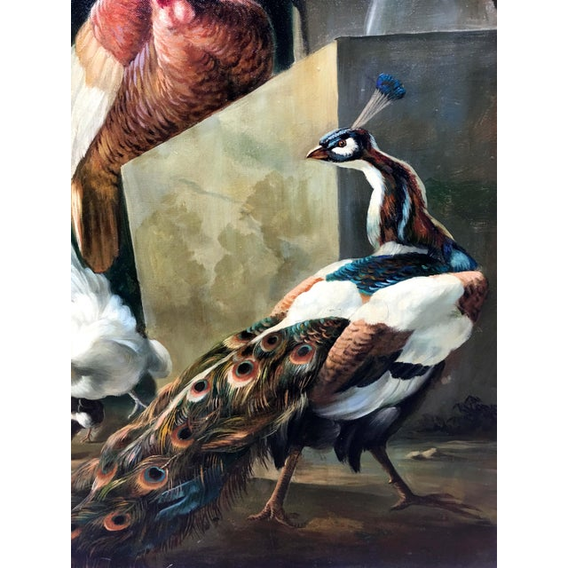 Authentic Oil Painting on Vintage Wood panel, depicting two pheasants with a peacock in the foreground. This beautiful...