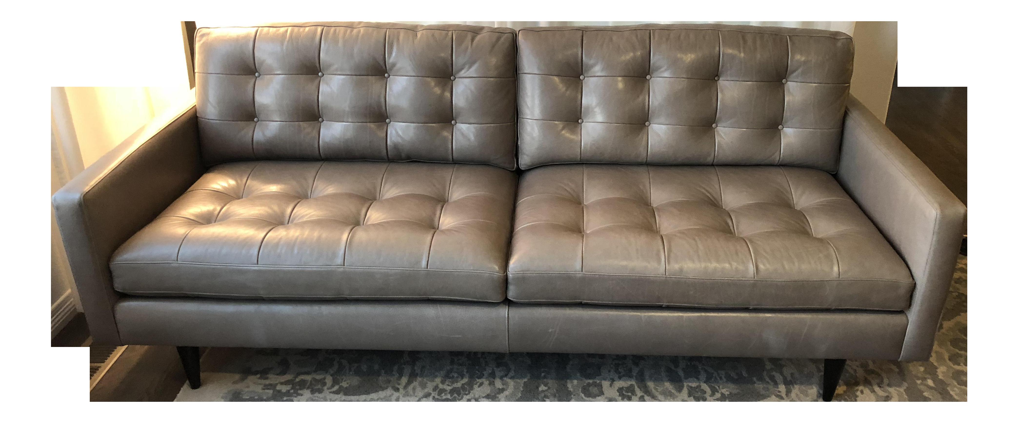 Crate U0026 Barrel Petrie Custom Leather Sofa