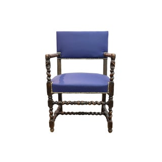 Antique Walnut Newly Upholstered Dark Blue Faux Leather Barley Twist Jacobean Style Throne Chair For Sale