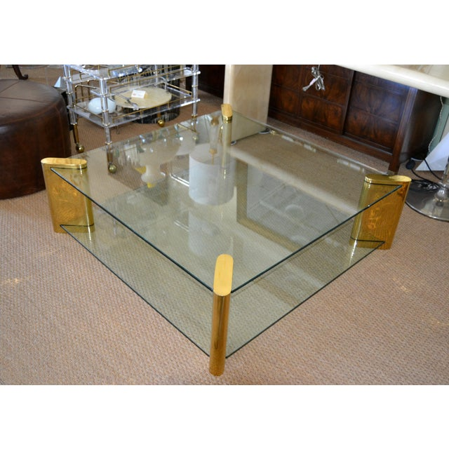 Contemporary Karl Springer Mid-Century Modern Brass & 2-Tier Glass Coffee Table, Signed For Sale - Image 3 of 13