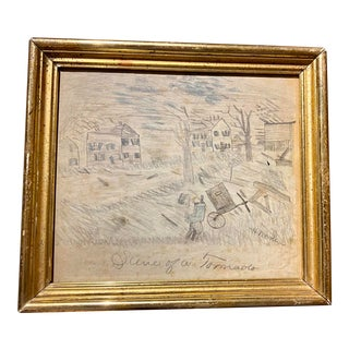 "Early 20th Century ""Scene of a Tornado"" Mixed-Media Drawing, Framed For Sale"