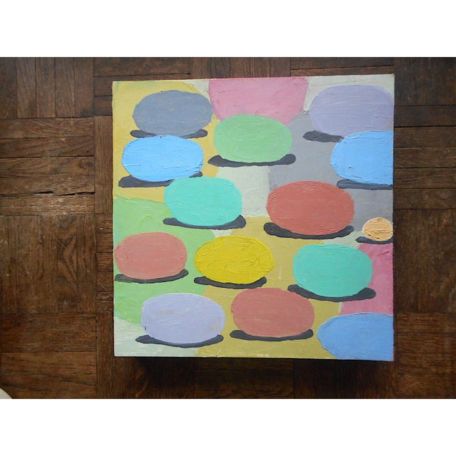 """Paint Original Signed Vintage Abstract Oil/Board """"Rolling Out Spring"""" For Sale - Image 7 of 7"""