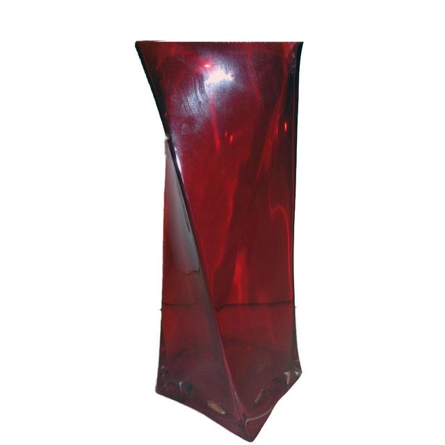 Red Translucent Twisted Glass Vase - Image 2 of 3
