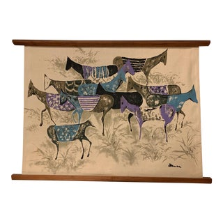 1960s Vintage Hiroshi Honda Horse Screen Print Tapestry For Sale