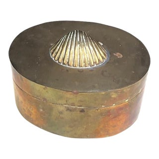 Brass Shell Hinge-Top Trinket Box For Sale