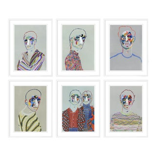 Set of 6 Portraits by Robson Stannard in White Frame, Small Art Prints For Sale