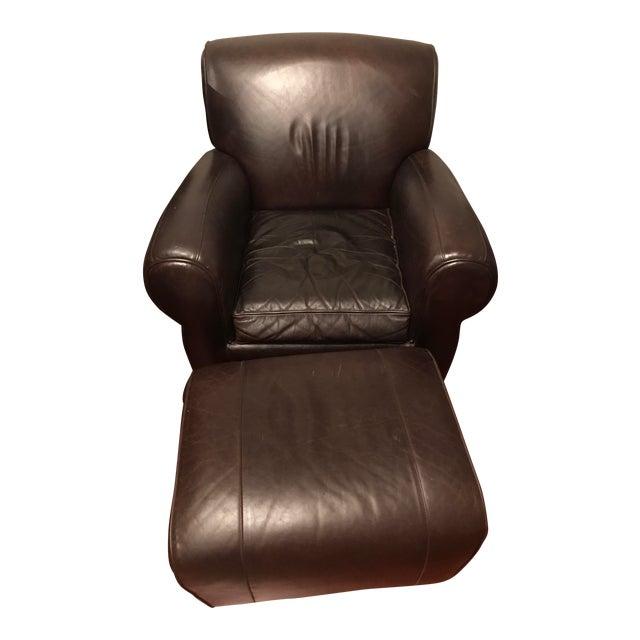pottery barn manhattan leather chair ottoman chairish