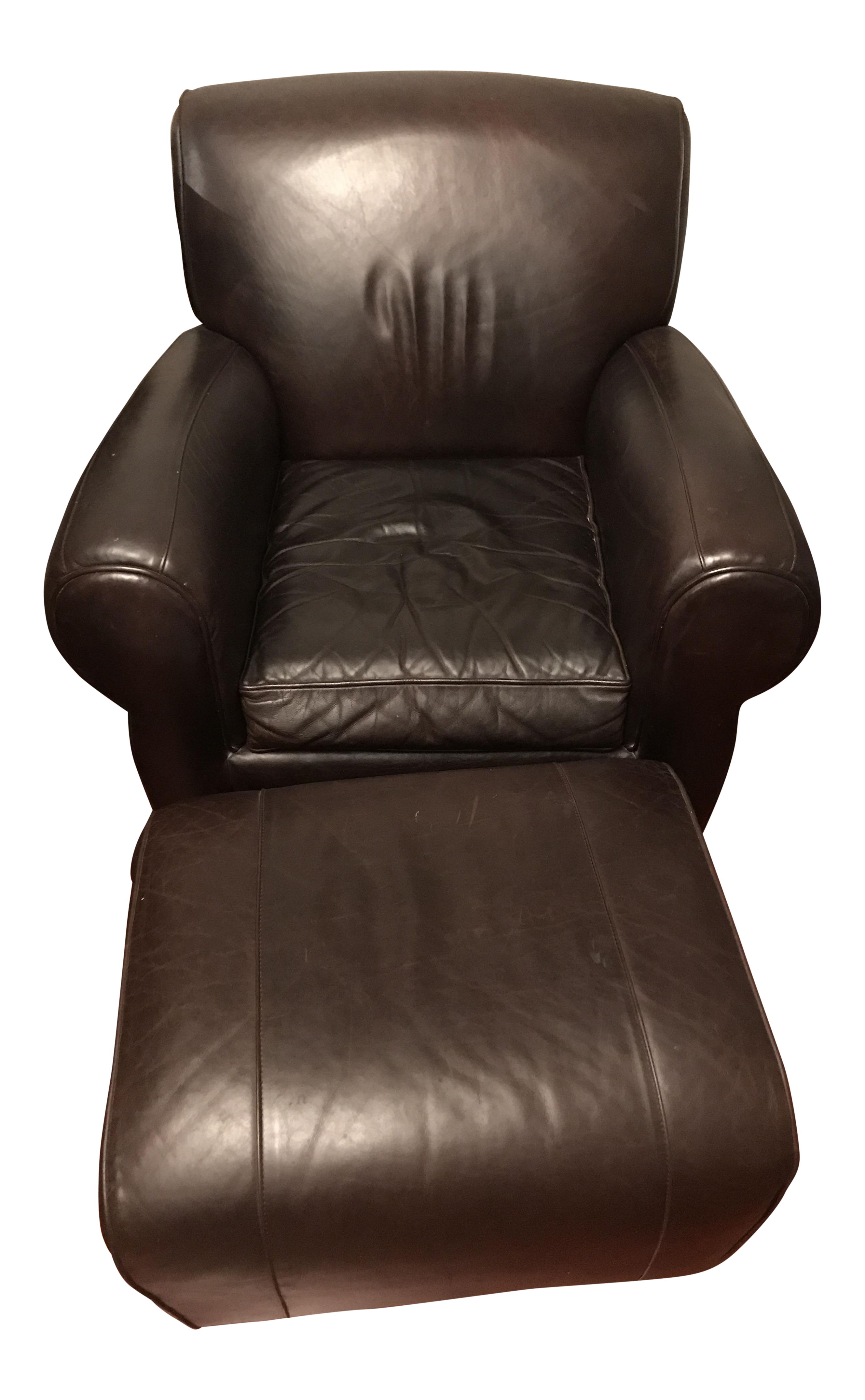 Pottery Barn Manhattan Leather Chair U0026 Ottoman