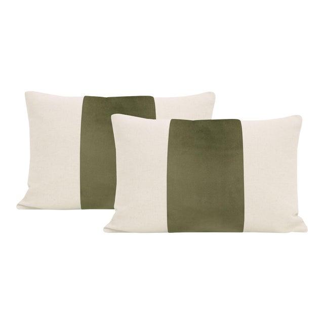 """12"""" X 18"""" Moss Velvet Panel & Linen Lumbar Pillows - a Pair For Sale"""