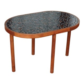 Mid Century Modern Martz Marshall Studios Walnut and Round Tile Top Table For Sale