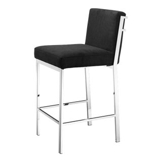 Silver Black Velvet Counter Stool | Eichholtz Scott For Sale