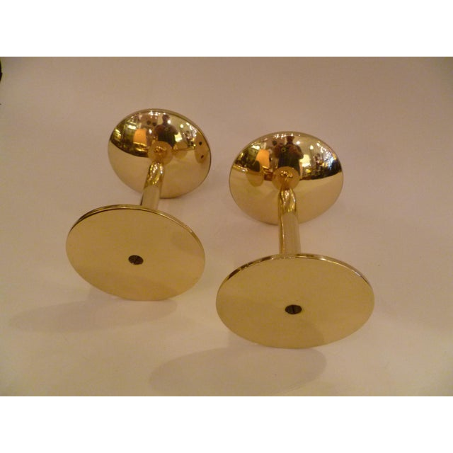 Pair of Modern Hans Agne Jakobsson Solid Brass Candleholders 1950s For Sale - Image 10 of 12