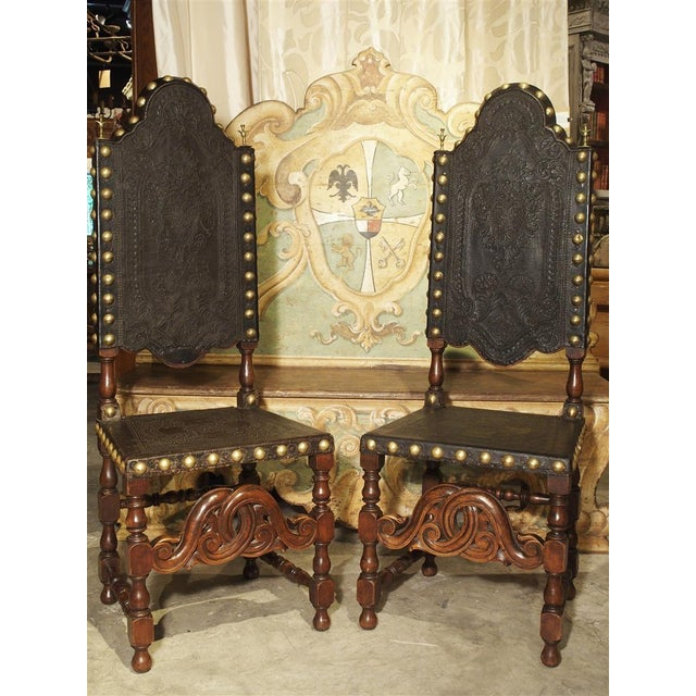 Spanish Pair of Antique Oak, Leather, and Brass Side Chairs From Portugal, 19th Century For Sale - Image 3 of 13