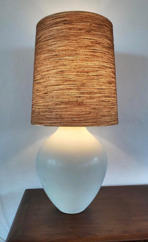 Lotte Gunnar Bostlund Danish Cream Ceramic Table Lamp With Spun