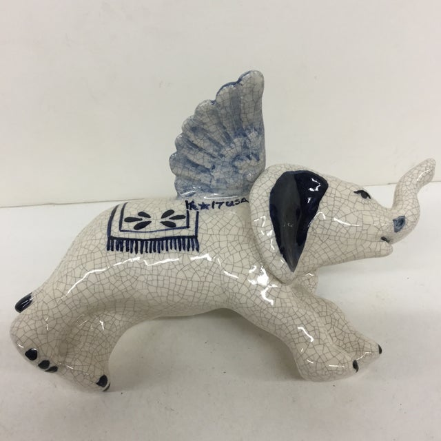 Hand Painted Artisan Ceramic Flying Elephant For Sale - Image 9 of 11