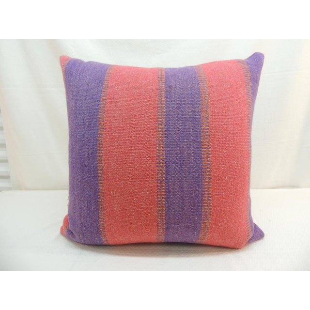 Large Floor Pillow in Blue and Red Woven Stripes For Sale In Miami - Image 6 of 6