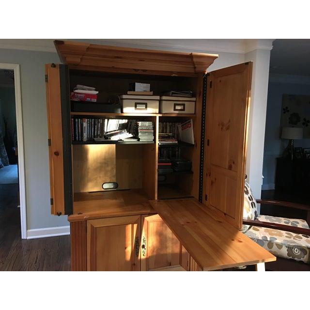 Solid Oak Armoire Desk - Image 4 of 4