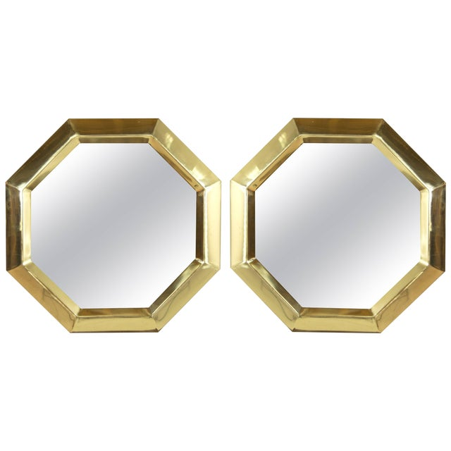 1950s Octagonal Brass Frame Mirrors - a Pair For Sale