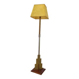Bronze Arts & Crafts / Art Deco Torchiere Floor Lamp For Sale