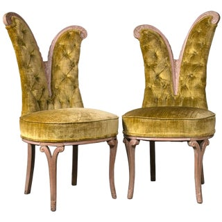 Pair of Art Deco Style Feather Decorated Side Chairs Tufted Back Curved Details For Sale