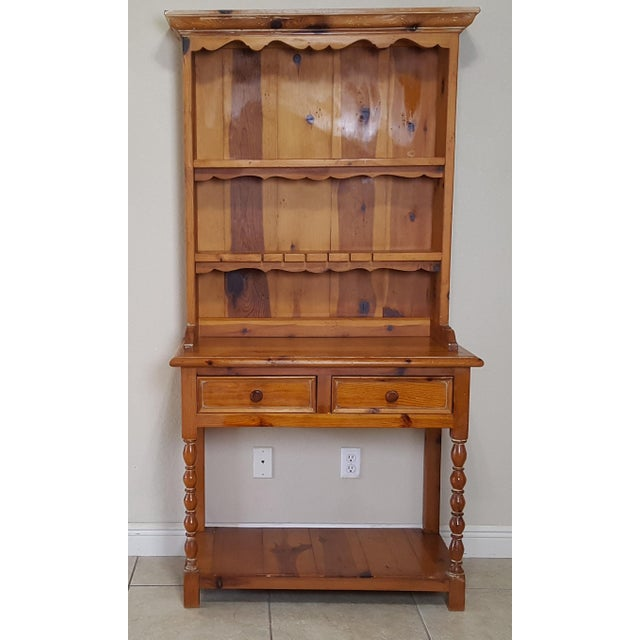 Rustic Style Pine China Hutch Sideboard With Spindles - 2 Pieces For Sale - Image 12 of 12