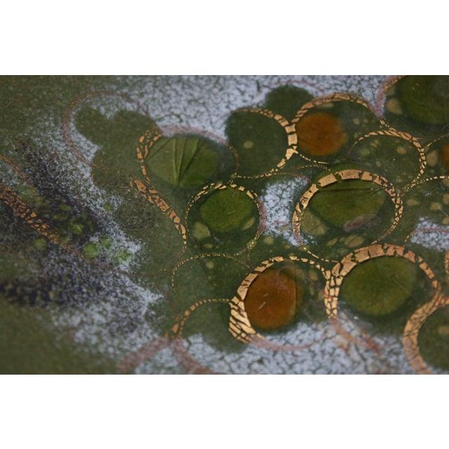 Green Sascha Brastoff 'Grapes on Vine' Enamel on Copper Charger For Sale - Image 8 of 13