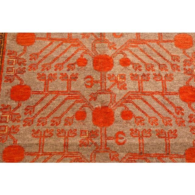 1920s Vintage Khotan Red and Blue Wool Rug - 4′4″ × 8′5″ For Sale - Image 4 of 5