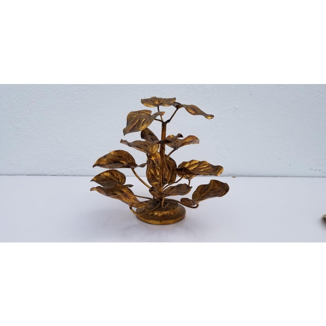 Bronze 1960s Vintage Italian Gilded Plant Shaped Table Sculpture For Sale - Image 8 of 8