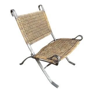 Mid Century Iron Woven Folding Campaign Chair For Sale