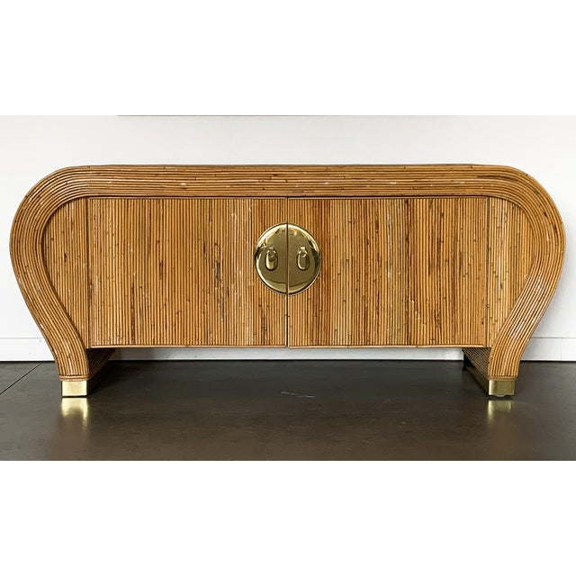 Hollywood Regency Gabriella Crespi Style Bamboo and Brass Waterfall Sideboard Cabinet For Sale - Image 3 of 13