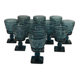 Indiana Glass Colony Park Lane Blue Cordial Glass Goblets - Set of 11 For Sale