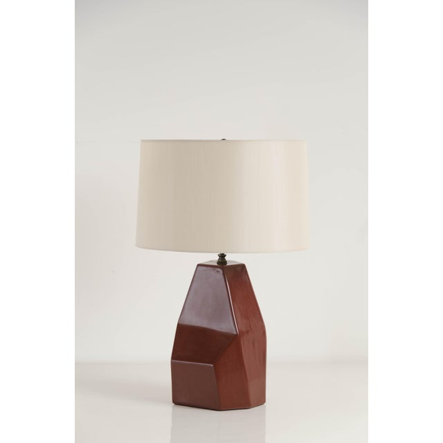 Hand Made Faceted Shan Lamp in Red Bean Lacquer by Robert Kuo, Limited Edition For Sale In Los Angeles - Image 6 of 6