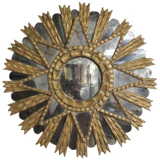 Early 19th Century Antique Peruvian Giltwood Sunburst Mirror For Sale