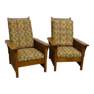 Stickley Mission Style Oak Morris Arm Chairs - A Pair