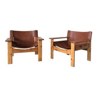 1960s Mid-Century Modern Leather Spanish Safari Chairs - a Pair