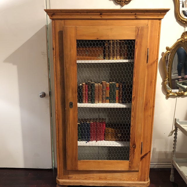 Book on shelving not included. Bavaria c1840. Key included. Antique pine  cabinet. - Antique Pine Biedermeier Cabinet Chairish