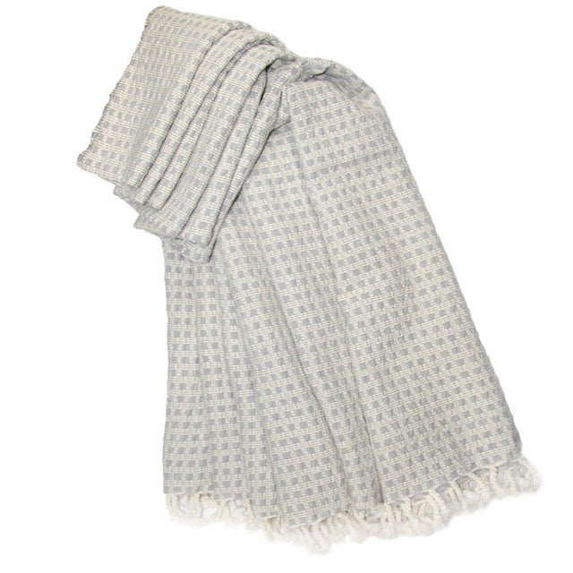 Hand-loomed Cotton Throw | Pointell Hand-loomed, 100% cotton throw Created by hand on antique shuttle looms, the super-...