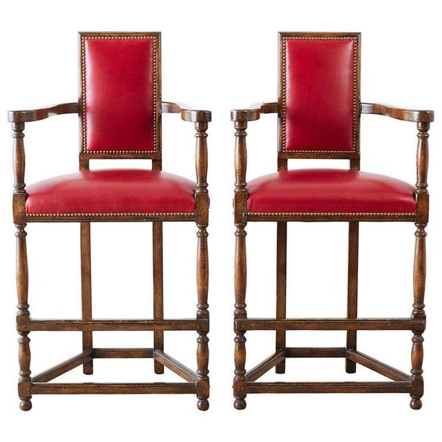 Pair of Dennis Leen Walnut and Leather Bar Stools For Sale - Image 13 of 13