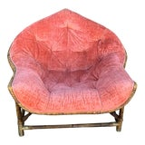 Image of 1950s Vintage Upholstered Salmon Tufted Chair For Sale