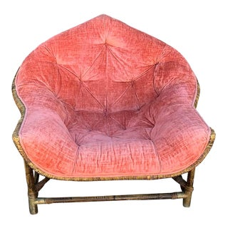 1950s Vintage Upholstered Salmon Tufted Chair For Sale